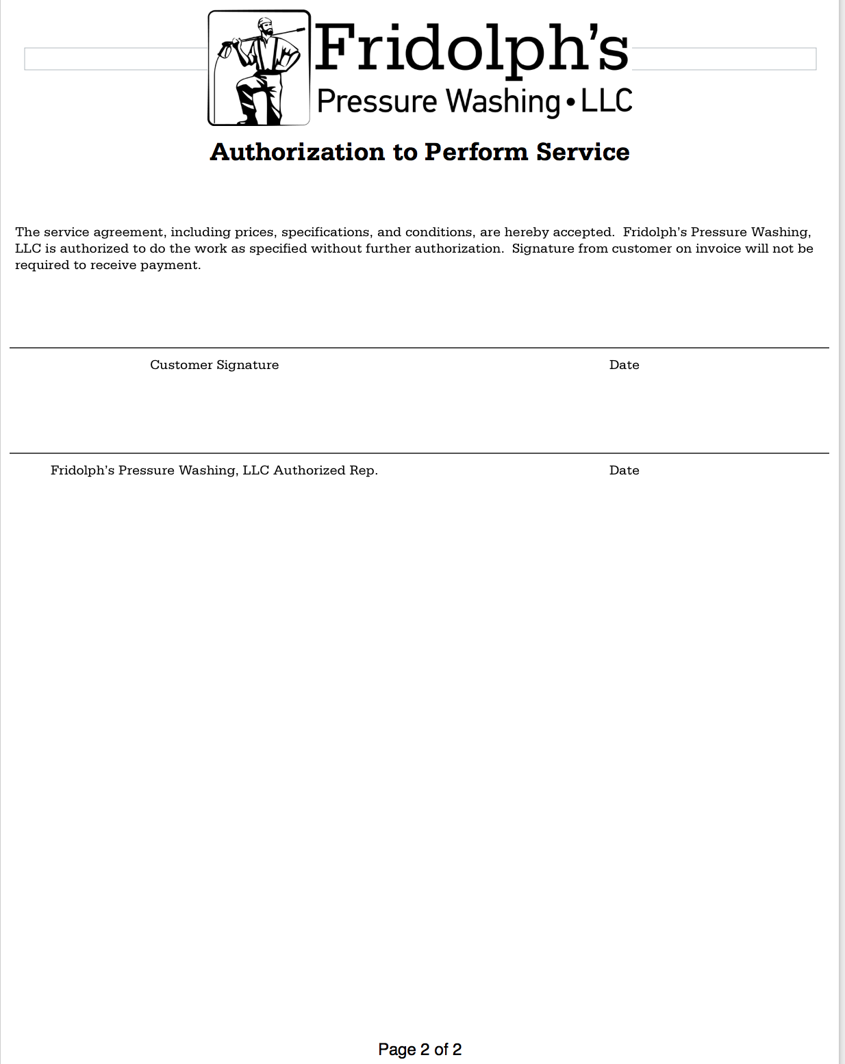 Service Agreement Residential Pressure Washing Resource