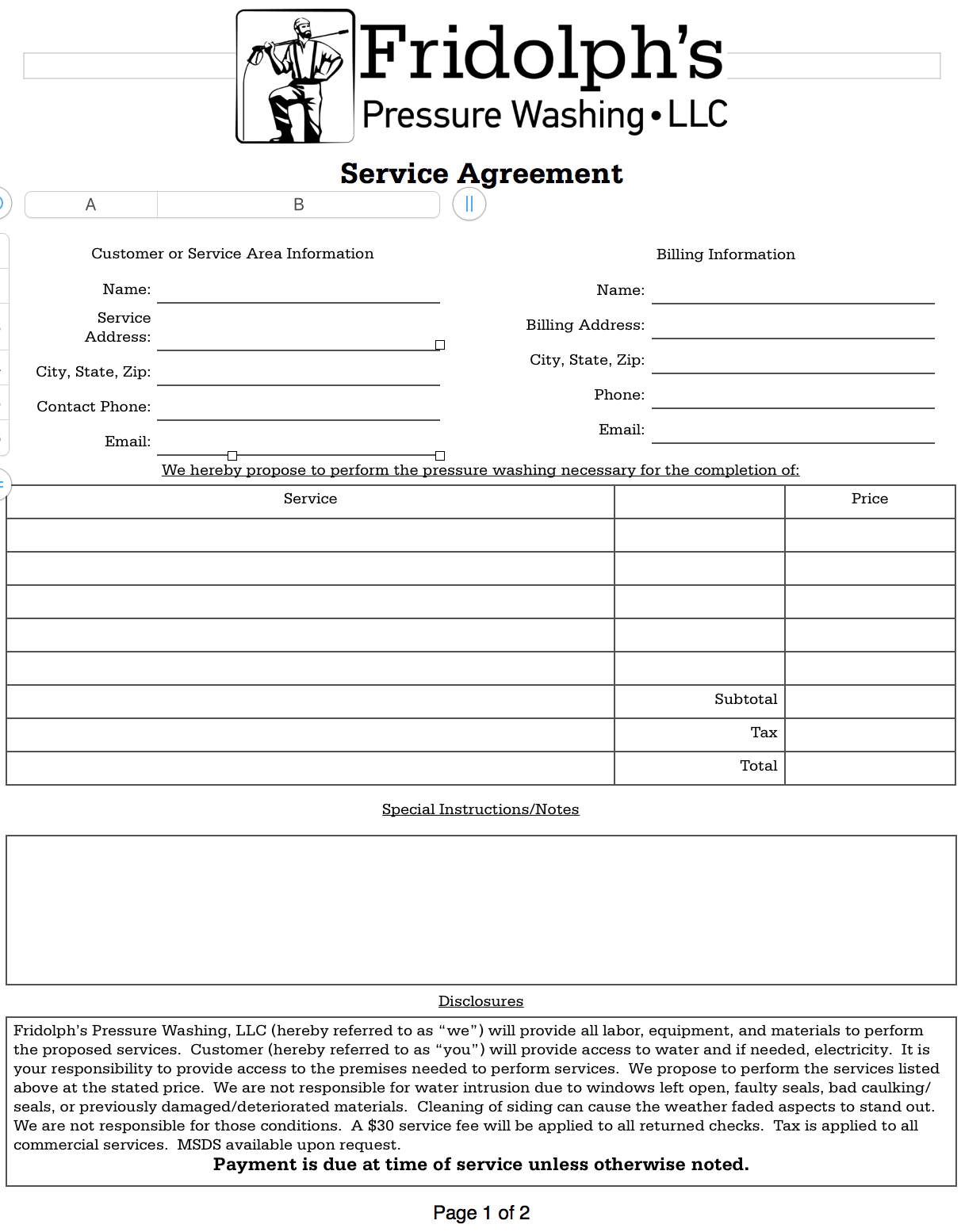 Service agreement - Residential - Pressure Washing Resource